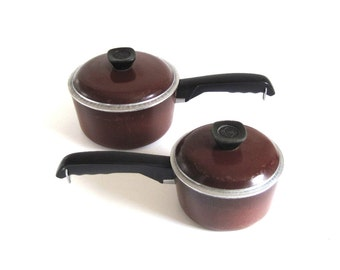Club Aluminum Cookware Brown Saucepans 1960s 1970s Kitchen (As-is)