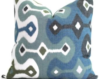 Martyn Bullard Schumacher Darya Ikat Sky 20x20 Decorative Pillow Cover Lumbar pillow - Throw Pillow - Accent Pillow