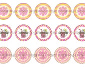 "1"" Pink Lemonade Summertime Bottle Cap Image Sheets Party Favors Cupcake Topper Magnet Stickers Printables Bottlecap Instant Download."