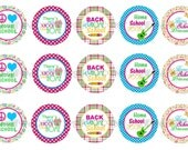 """1"""" Peace Love Back To Homeschool Bottle Cap Image Sheets Party Favors Cupcake Topper Magnet Stickers Printables Bottlecap Instant Download."""