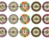 "1"" Clock Faces Steam Punk Bottle Cap Image Sheets Party Favors Cupcake Topper Magnet Stickers Printables Bottlecap Instant Download."