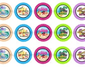 """1"""" Hello Summer Beach Sandcastle Princess Bottle Cap Image Sheets Party Favors Cupcake Topper Magnet Stickers Printables Instant Download."""