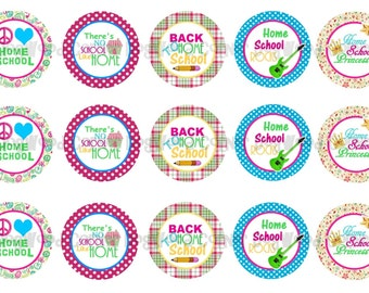 "1"" Peace Love Back To Homeschool Bottle Cap Image Sheets Cupcake Topper Magnet Stickers Printables Bottlecap Instant Download."