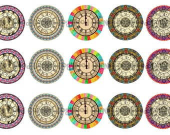 "1"" Clock Faces Steam Punk Bottle Cap Image Sheets Party Favors Cupcake Topper Magnet Stickers Printables Bottlecap Instant Download."