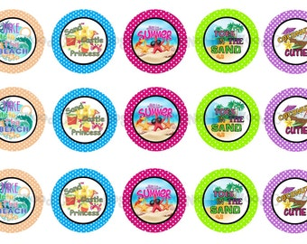"1"" Hello Summer Beach Sandcastle Princess Bottle Cap Image Sheets Party Favors Cupcake Topper Magnet Stickers Printables Instant Download."