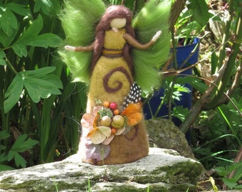 Ariyah nature fairy, Waldorf inspired fairy doll, wet and needle felted