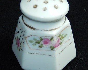 Nippon salt pepper shaker-vintage mid century- gold gilt-hand painted pink flowers-roses- gold trimmed-cottage chic decor- Japan