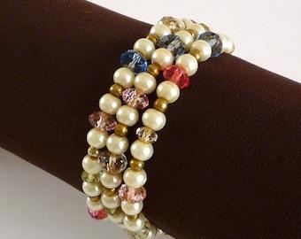 Glass Bead Wrap Bracelet, Colored Glass Beaded Memory Wire Bracelet, Glass Bead Jewelry