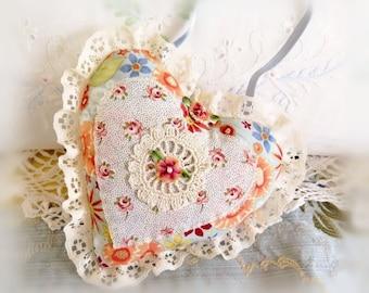 Heart Ornament 6 inch  Ruffled Heart Door Hanger, Retro Style Floral Print, Folk Art, Handmade CharlotteStyle Decorative Folk Art