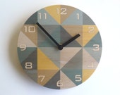 Objectify Beige Grid Plywood Wall Clock With Numerals - Medium Size
