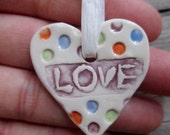 Essential Oil Diffuser / one inch / Hand Painted Colorful Ceramic / LOVE/ Heart / Necklace option