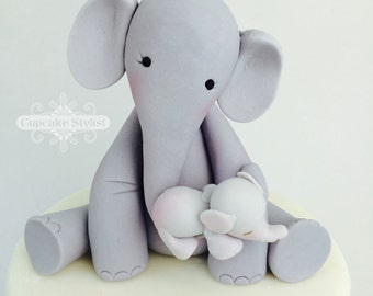 Elephant Cake Topper, Momma and Baby, Gumpaste, by Cupcake Stylist on Etsy