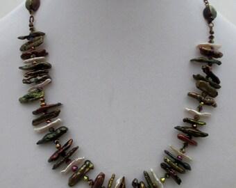Handmade Multi-Color Stick Pearl Necklace
