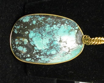Vintage Turquoise Pendant silver wire wrap 68ct