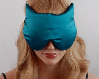 Silk Eye Mask Cat Sleep Mask, Peacock and Black Charmeuse, Fully Adjustable, Padded, Light Darkening for Sleep, Travel and Anti-Aging