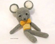 Crochet Gray and Yellow Mouse Wool Yarn Stuffed Toy Amigurumi Doll