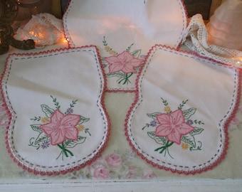 Estate Find Vintage Hand Embroidered Doiles 3 pc. Set Pink Shabby Cottage Rose