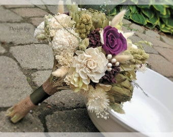 Purple Woodland Moss Collection - Purple Bridal Bouquet -  Natural dried and preserved flower wedding bouquet - purple plum hydrangea sola