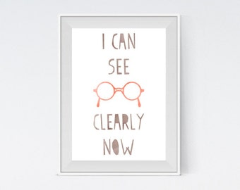 "Inspirational Art ""I Can See Clearly Now"" Typography Print Motivational Wall Decor Watercolor Poster Home Decor Quote Minimalist"