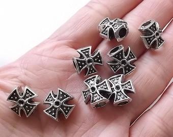 5pcs- Cross beads-silver tone Europen beads, antique silver/Tibetan silver big hole DIY beads, -3545