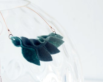 Petals//Felted Wool Necklace//Ombre Blue