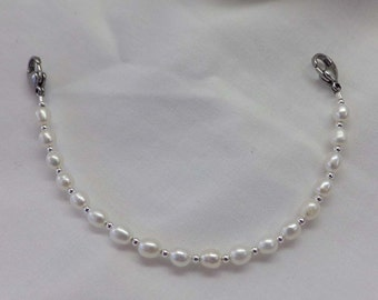 White Pearl Medical ID Alert Replacement Bracelet!  Free Shipping!