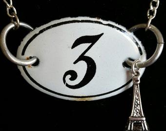 Paris--Vintage French Number Plaque Necklace