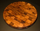 Solid Walnut Round Cutting Board Countertop Butcher Block Countertop Lazy Susan With 360 Degree Lifting Groove Round Butcher Block