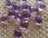Faceted Amethyst Briolettes Top Quality Natural Gemstones 6x8.5mm for your art or jewelry projects - 2 beads (I1021)