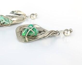 Green Agate Sterling Earrings, Screw Back Abstract Modernist Earrings, Hand Formed Vintage jewelry