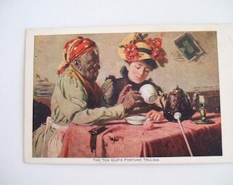 Rare Antique 1903 Post Card Tea Leaf Reader Fortune Teller Victorian Post Card Black Americana African American Art by Harry Roseland