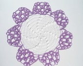 "White and purple crochet doily, 12"""