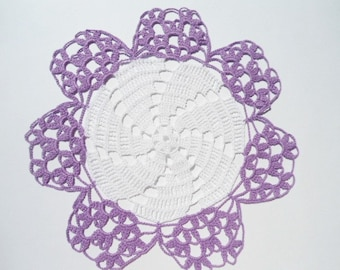 White and purple crochet doily, 12""