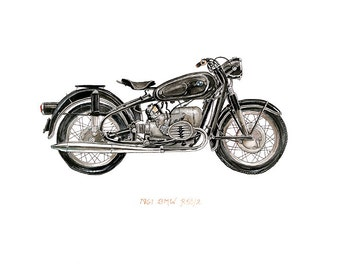 """1961 BMW R50/R52 Motorcycle, iconic vehicle watercolor print, 8x10"""""""