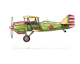 """Curtiss 0-1 Falcon vintage airplane watercolor print 8""""x10"""""""