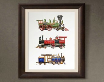 11x14 watercolor print featuring three vintage steam engine trains in red, green, and blue