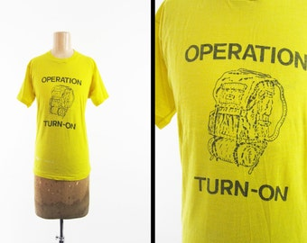 Vintage 80s Backpacking T-shirt Hiking Yellow Operation Turn On Screen Stars - Med / Large