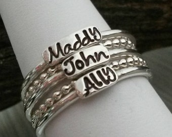 Personalized Stackable Rings .925 Sterling Silver