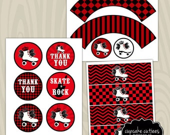 Rock and Skate RED Digital Large ROUND Tags N Toppers Instant Download