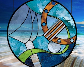 Stained Glass Window  Nautical Journey with Aqua Waterglass Medium Blue and Amber