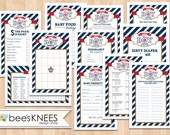 Nautical Baby Shower Game Set Includes Anchor BLANK Bingo Cards - Instant Download