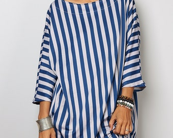 Summer Top / Trendy Blouse Tunic / Blue and grey Top : Urban Chic Collection No.32