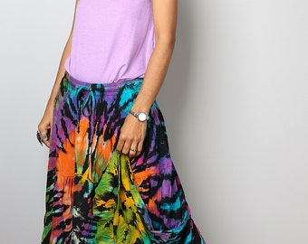 Rainbow Skirt / Hippie Tie Dye Maxi Skirt : Funky Collection