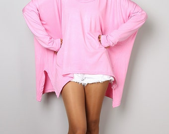 Pink Top / Baby Pink Tunic / Cowl Neck Tunic / Soft Pink Tunic / Oversized Tunic : Urban Chic Collection No.27
