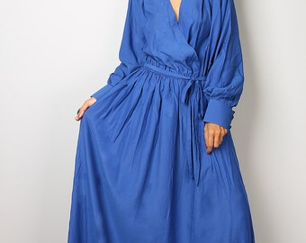 Blue Dress  With Long Sleeves- Elegant Evening Maxi Dress : Joy of Spring Collection No.2