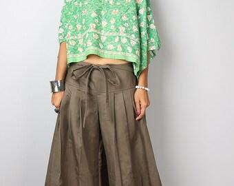 Brown Pants / Wide Leg Pants / Linen Pants / Cotton Pants Casual Wear :  Soul of the Orient Collection