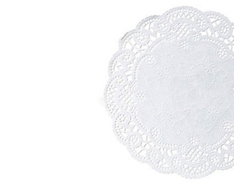Round paper doilies. French plain white doily sets in various sizes. Round Paper Lace Doilies White Weddings. Paper embellishments Catering