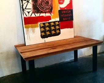 Beautiful Steel & Reclaimed Wood Dining Table. Made in Los Angeles.
