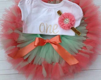 Coral and Mint Tutu Skirt Set