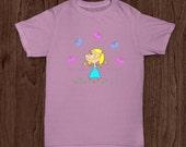 Girl with Blue Dress pink Butterflies color t shirt print mug phone case Options